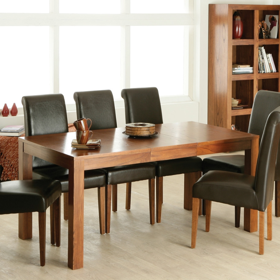 High Gloss Solid Wood Dining Table Black Leather Upholstered Chairs