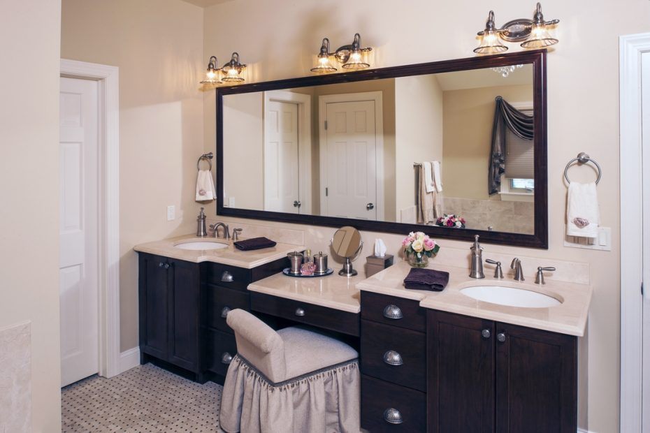 Home Design Bathroom Vanity With Makeup Area Narrow Bathroom