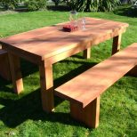 Home Design Nice Outdoor Table With Benches Wooden Patio And Bench