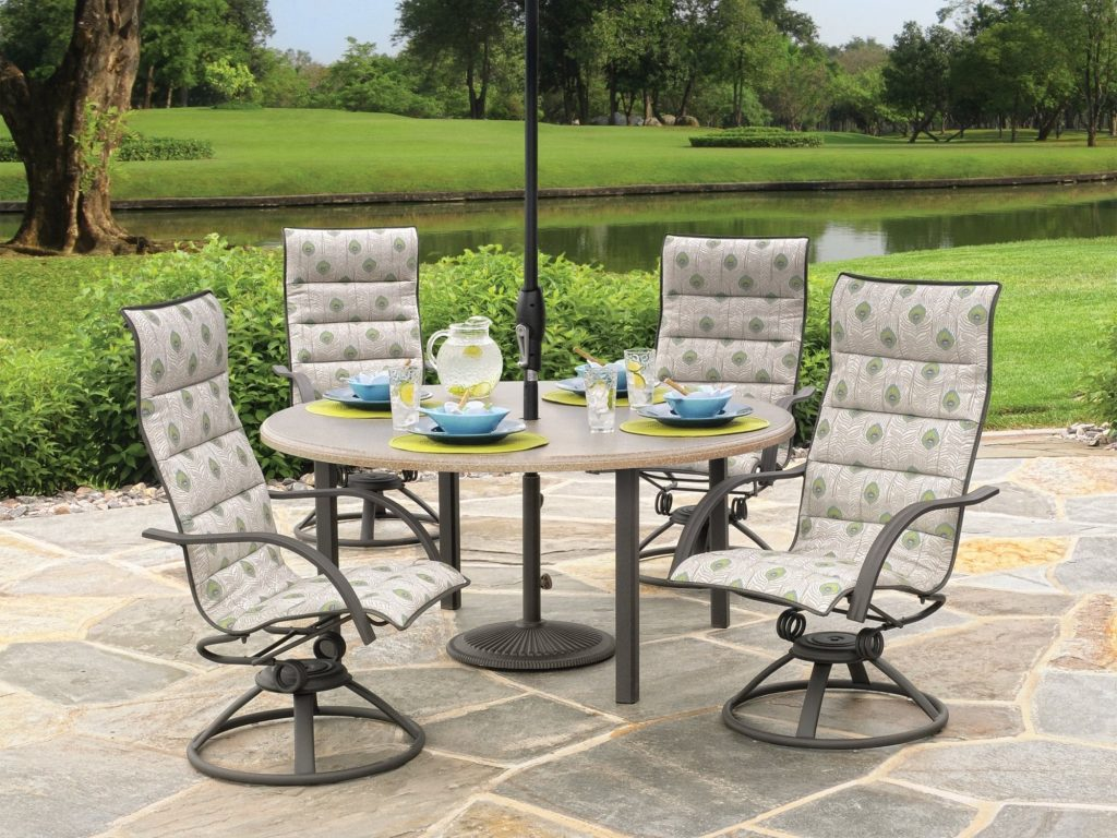 Homecrest Palisade Steel Highback Sling Casual Dining Set With