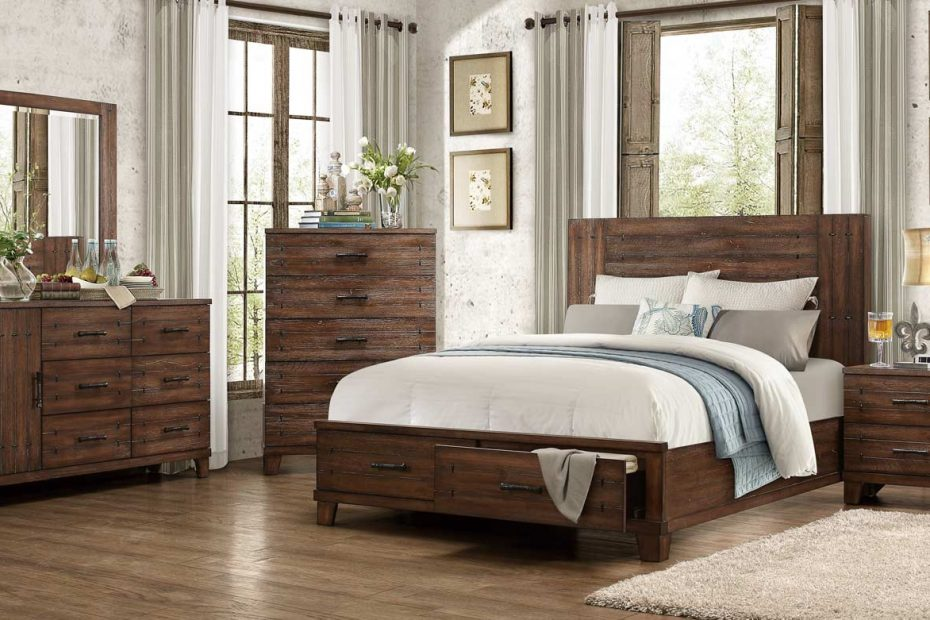 Homelegance Brazoria Bedroom Set Distressed Natural Wood 1877