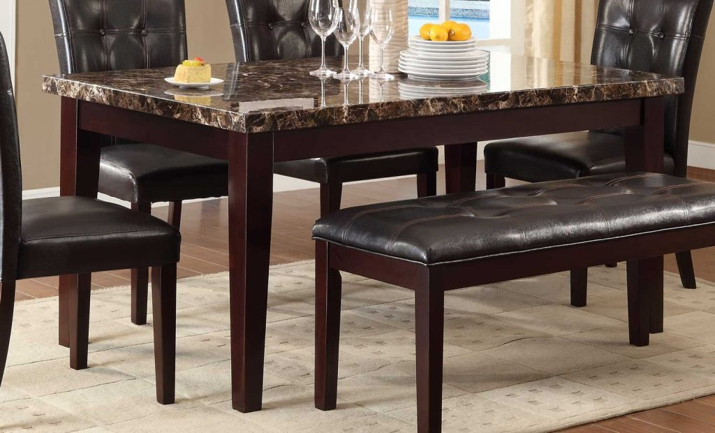 Homelegance Teague Faux Marble Dining Table Espresso 2544 64