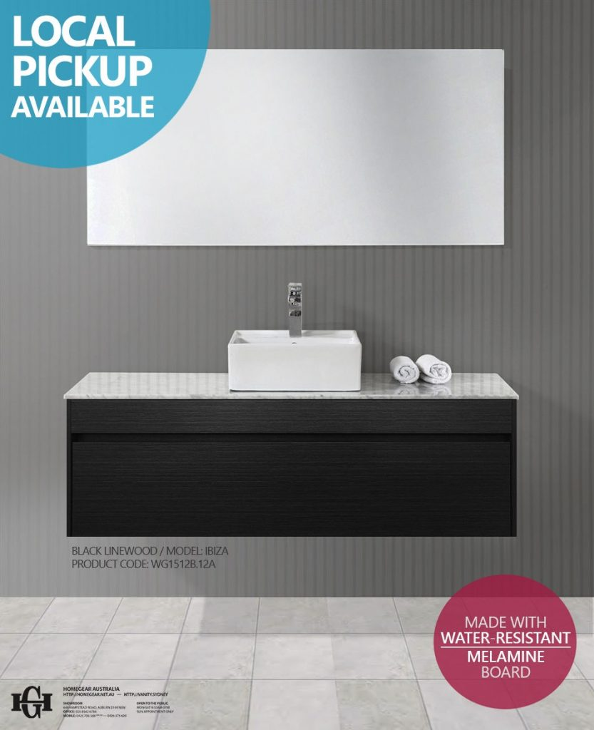 Ibiza 1200mm Black Linewood Timber Wood Grain Wall Hung Bathroom