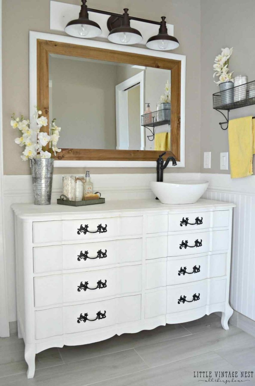 Incredible To Bathroom Vanity Dresser Turned Pics Of Antique Trends
