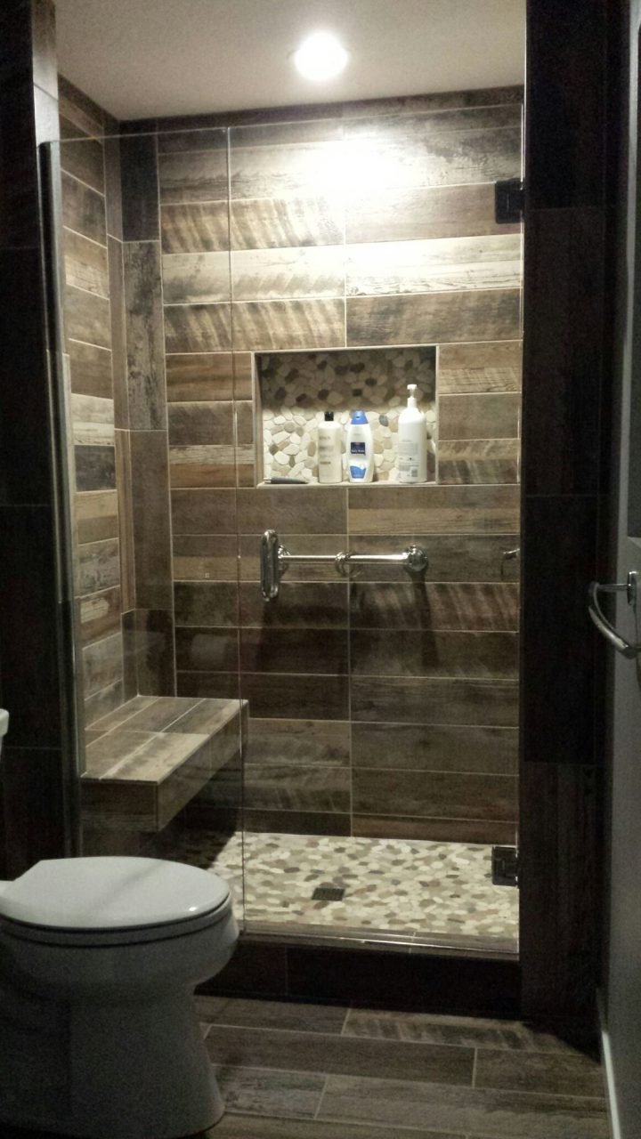 Kennewick Wa Bathroom Remodel Custom Walk In Shower With Wood Plank