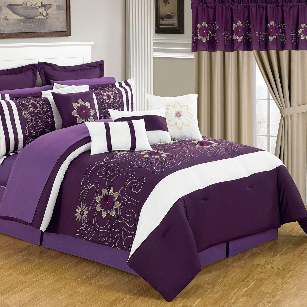 Lavish Home Amanda Purple 24 Piece Queen Comforter Set 66 00014 24pc