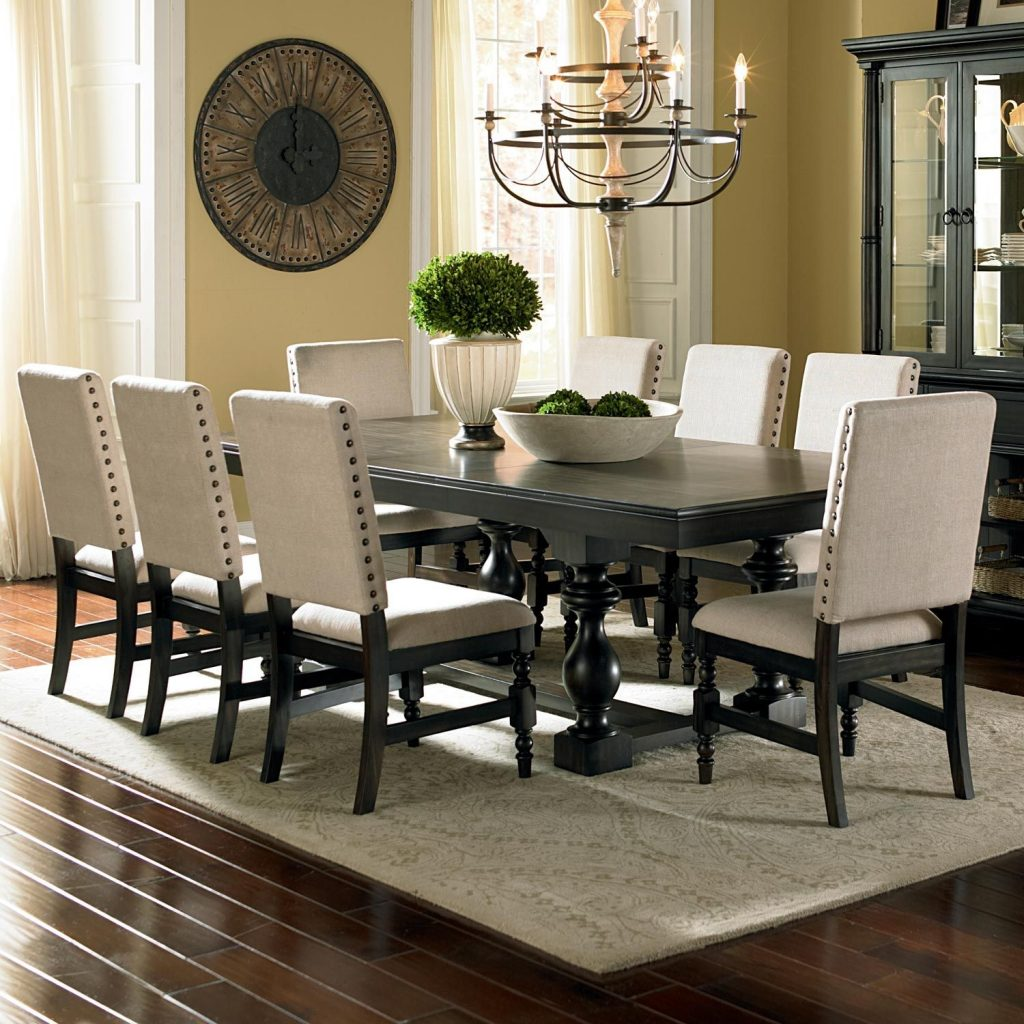 Leona 9 Piece Dining Set Extension Table Fabric Chairs Fabric