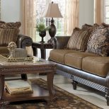 Living Room Brown Ashley Recliners Dark Grey The With Fireplace