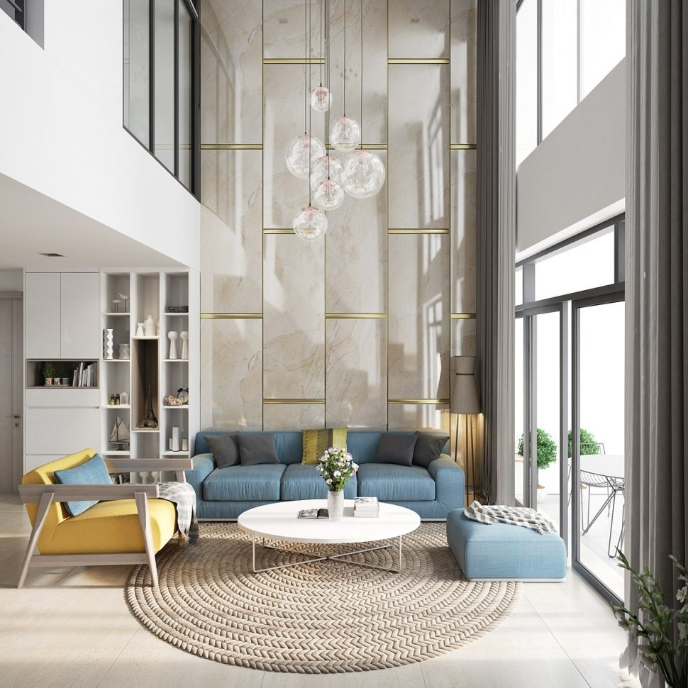 Living Room Double Height Modern Living Room White Luxury Rooms