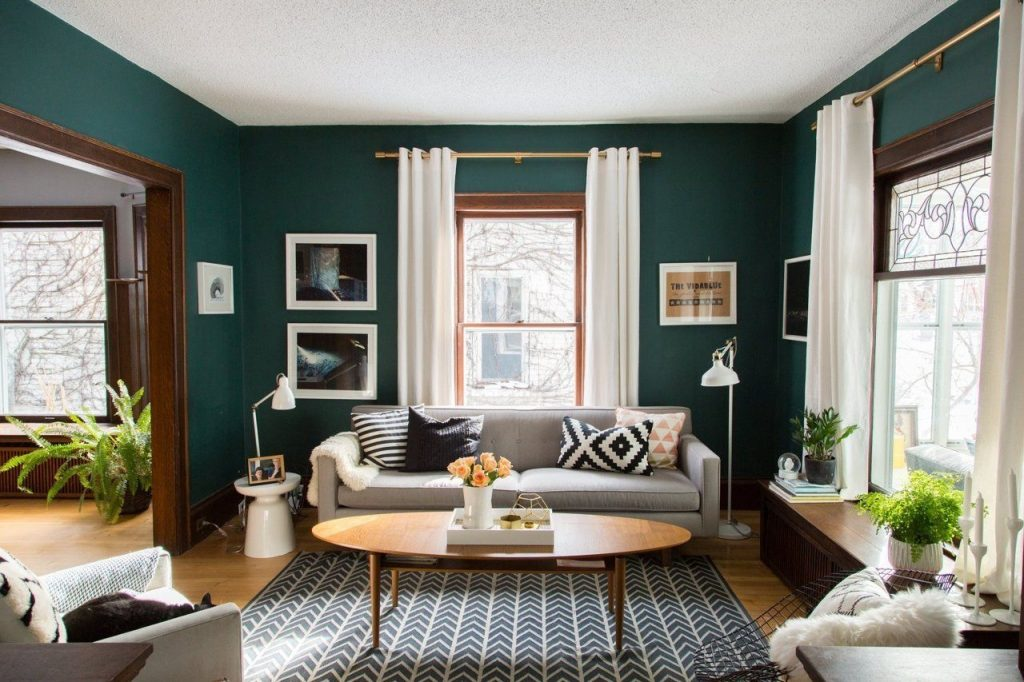 Living Room Green And Gold Interior With Modern Eclectic Vibe