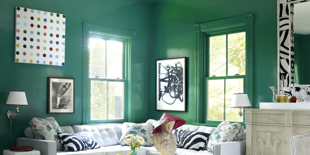 Living Room With Green Walls Magnificent Living Room Green Paint