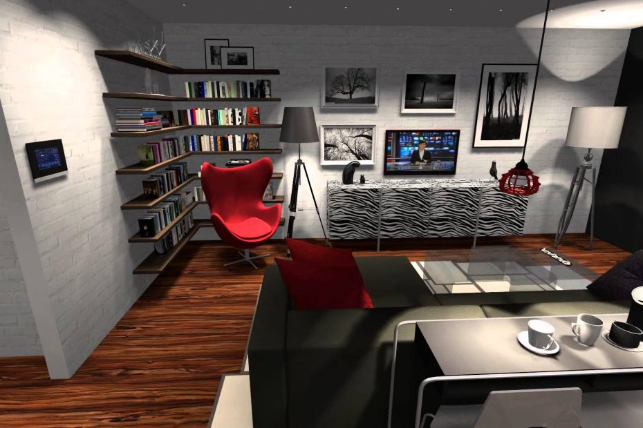 Living Room With Kitchen And Office Space 002 Youtube