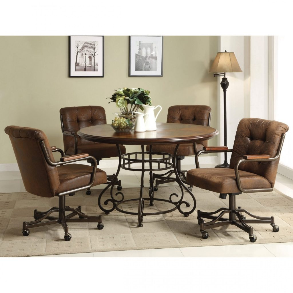 Livingroom Amazing Dinette Sets Chairs With Casters Chromcraft