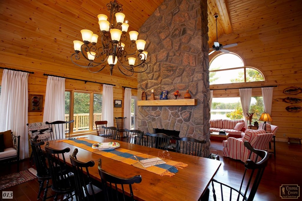 Log Home Dining Room With Fireplace Colonial Concepts Log