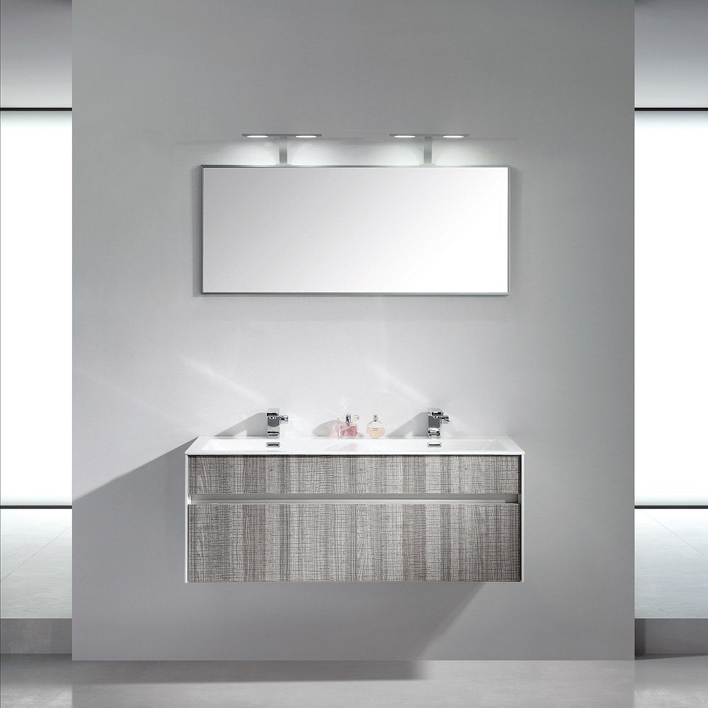Lusso Stone Encore Double Designer Wall Mounted Bathroom Vanity Unit