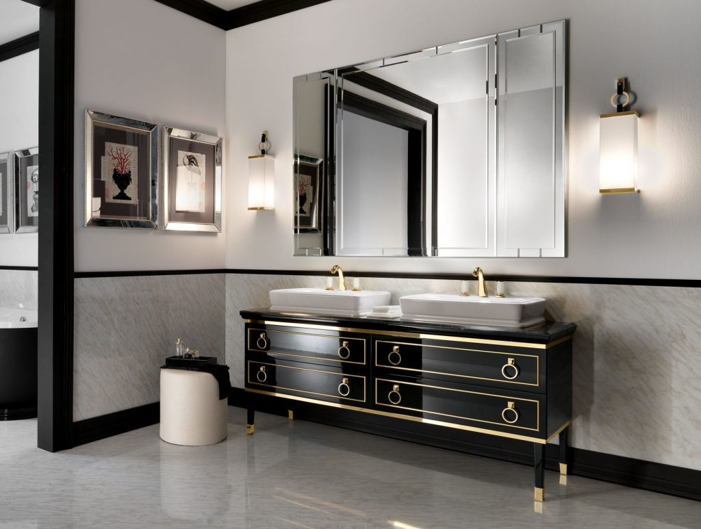 Lutetia L1 Luxury Italian Bathroom Vanity In Black Lacquer Gold Wood