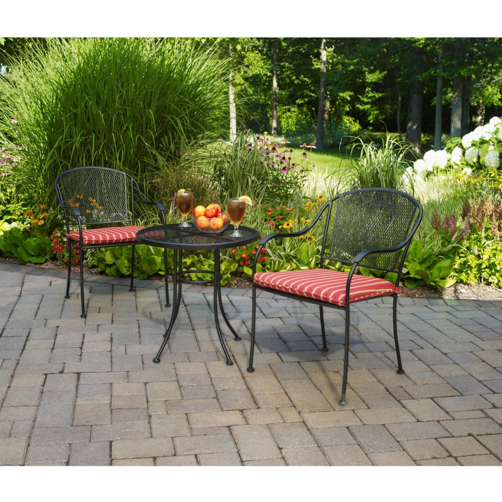 Mainstays Wrought Iron 3 Piece Outdoor Bistro Set Seats 2 Walmart