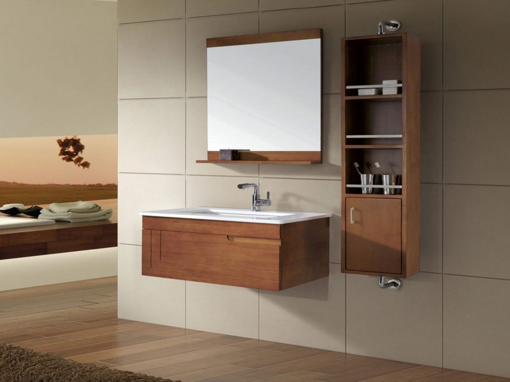 Mesmerizing Elegant Hanging Bathroom Vanity Cabinets In White Color