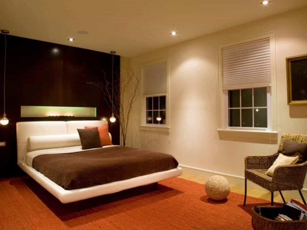 Modern Bedroom Furnished With Floating Bed And Illuminated With