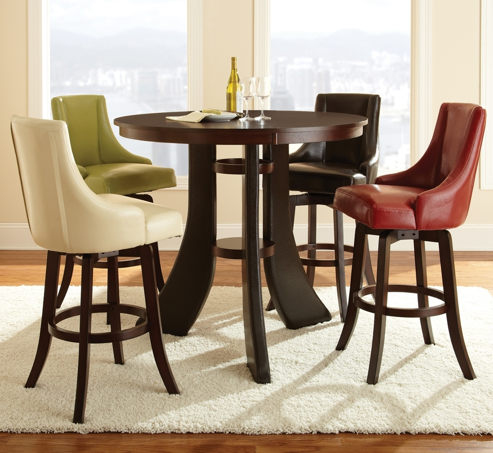 Modern Dining Room Design With 5 Piece 48 Inch Round Pub Table Set