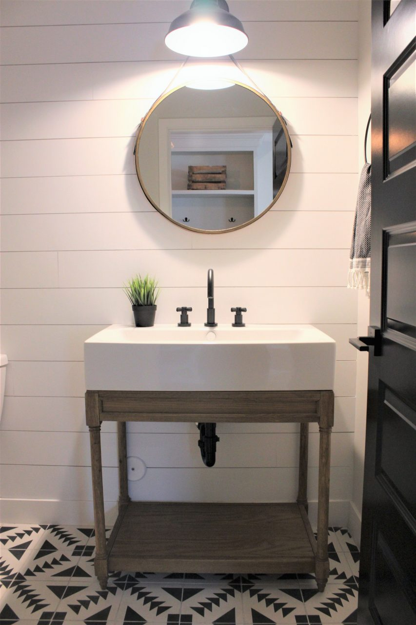 Modern Farmhouse Rafterhouse Shiplap Walls Powder Room Wood