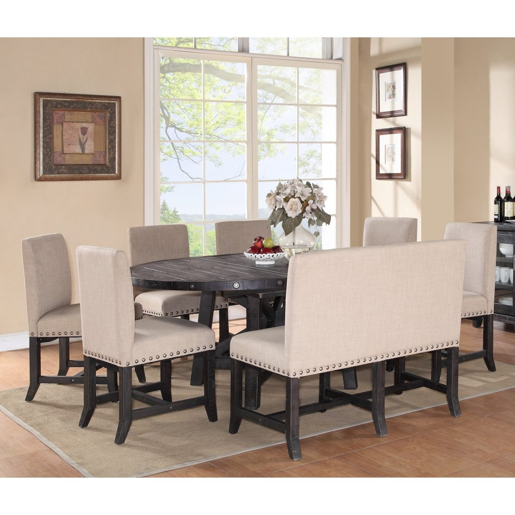 Modus Yosemite 8 Piece Oval Dining Table Set With Upholstered Chairs
