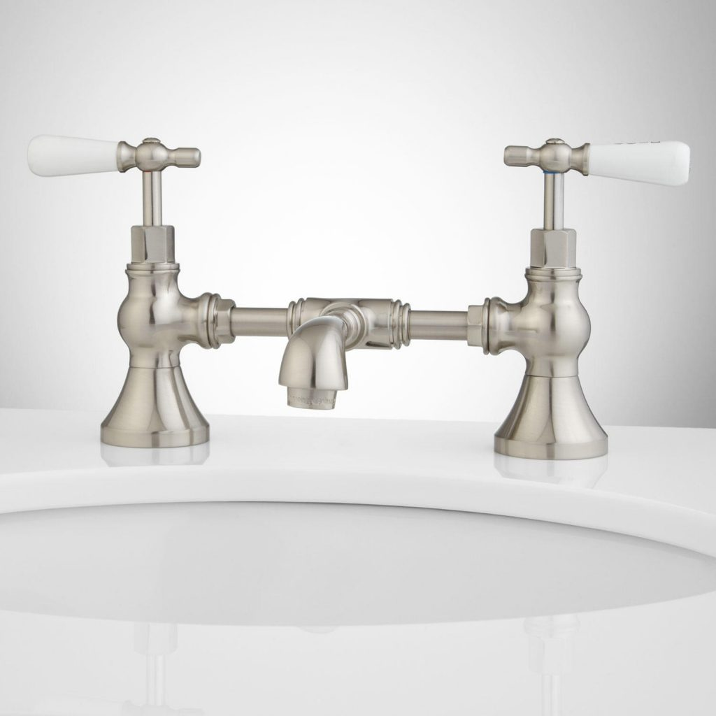 Monroe Bridge Bathroom Faucet Porcelain Lever Handles Bathroom