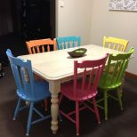 My Freshly Painted Dining Table With Different Coloured Chairs A
