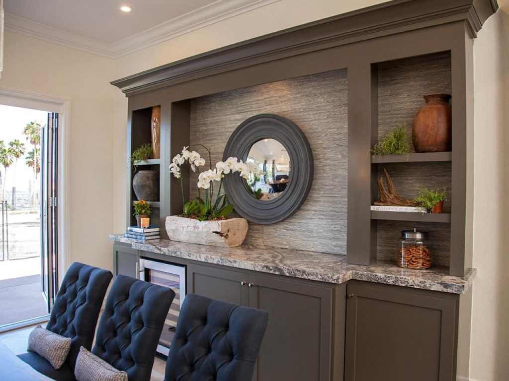 Neutral Dining Room With Built In Buffet And Shelves Hgtv Dining