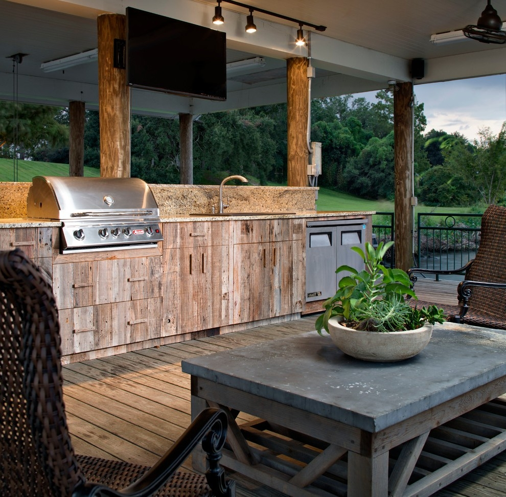 New Orleans Rustic Outdoor Kitchen Deck Traditional With Wood Patio