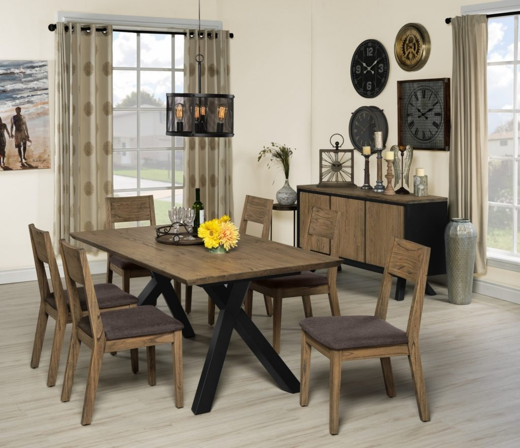 New York 7 Piece Dining Room Set Weathered Oak And Charcoal