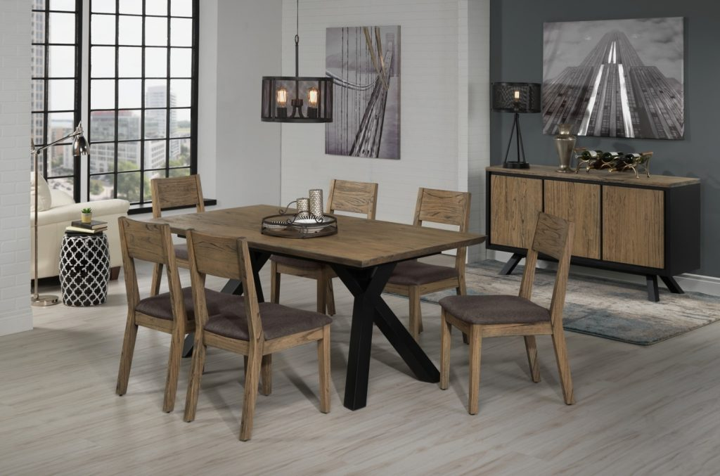 New York Dining Table Weathered Oak And Black