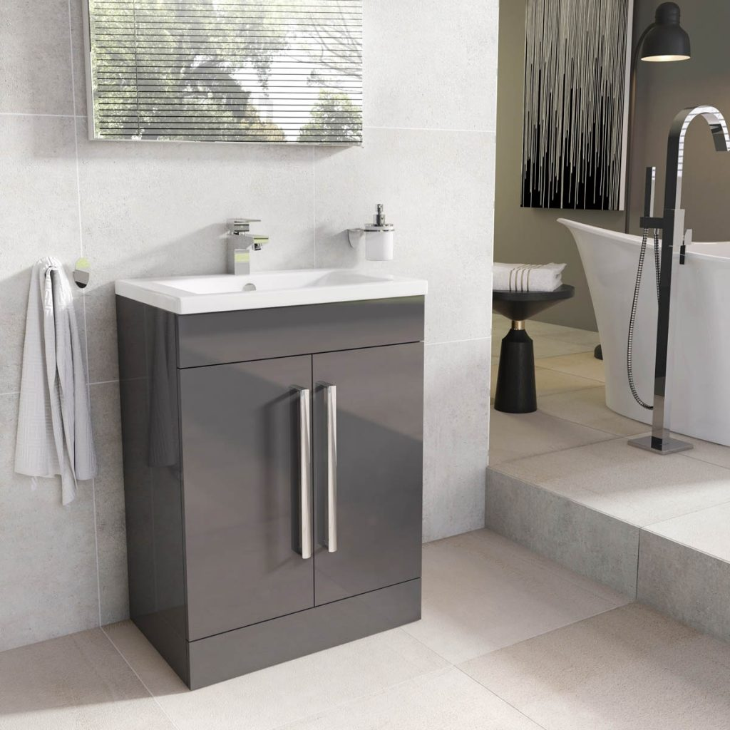 Newton Anthracite Grey Bathroom Standing Vanity Sink Unit Ceramic