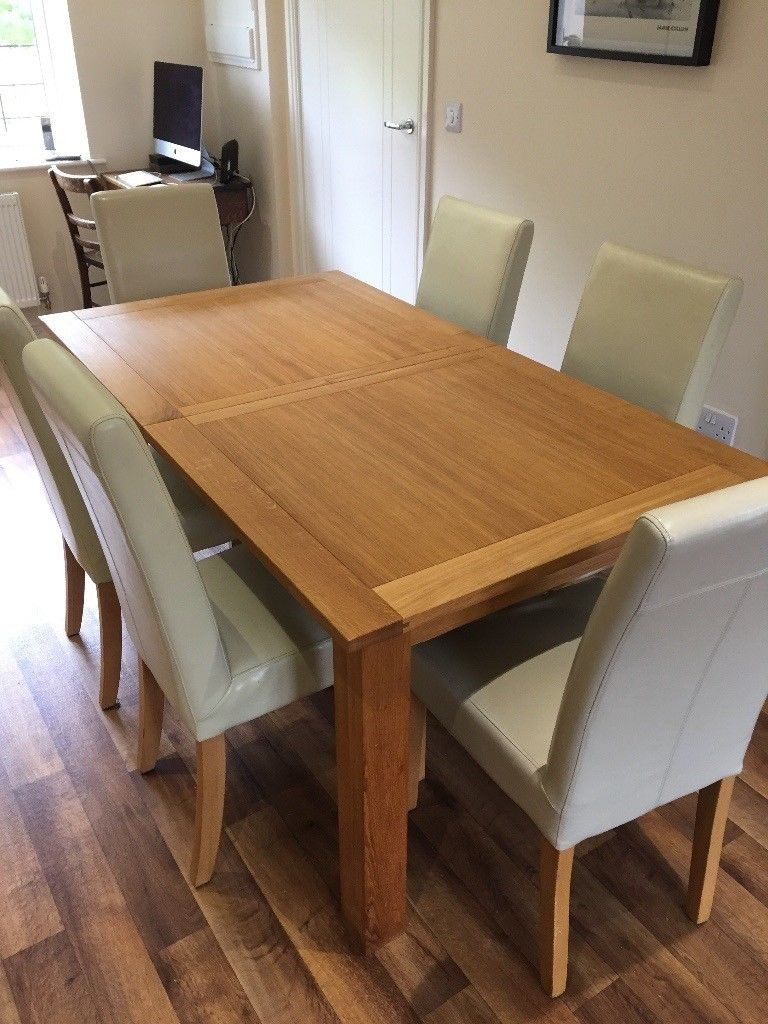 Next Cambridge Solid Oak Extending Dining Table And 6 Leather Chairs