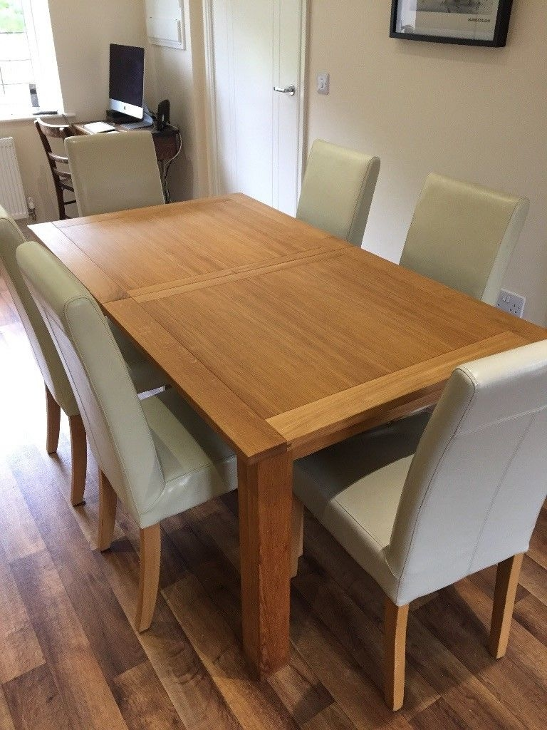 Next Cambridge Solid Oak Extending Dining Table And 6 Leather Chairs Layjao
