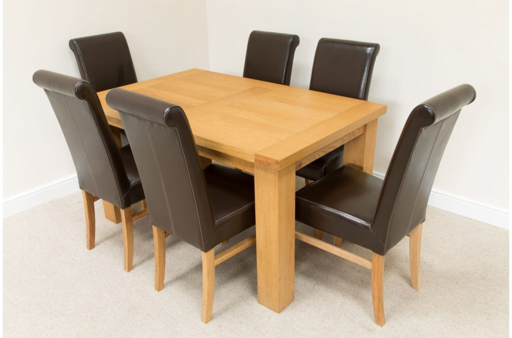 Oak Dining Table And 6 Black Leather Chairs Dining Tables