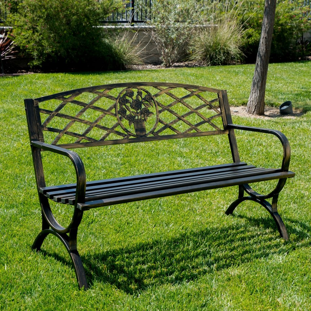 Outdoor Bench Patio Chair Metal Garden Furniture Deck Backyard Park
