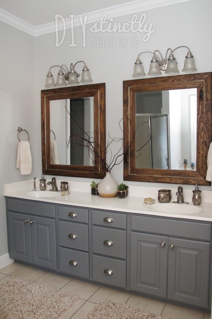 Painted Bathroom Cabinets Gray And Brown Color Scheme Decorating