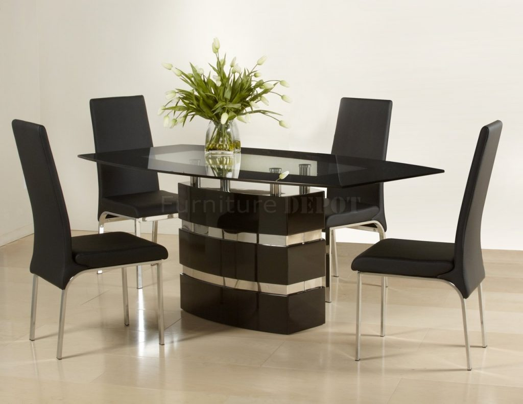 Photos Black High Gloss Finish Modern Dining Table Woptional Chairs