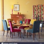 Pink Turquoise And Blue Velour Upholstered Dining Chairs At Table