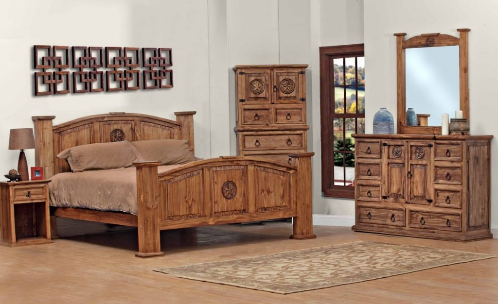 Queen Size Lone Star Bedroom Set Real Wood Custom Stain 5 Pieces