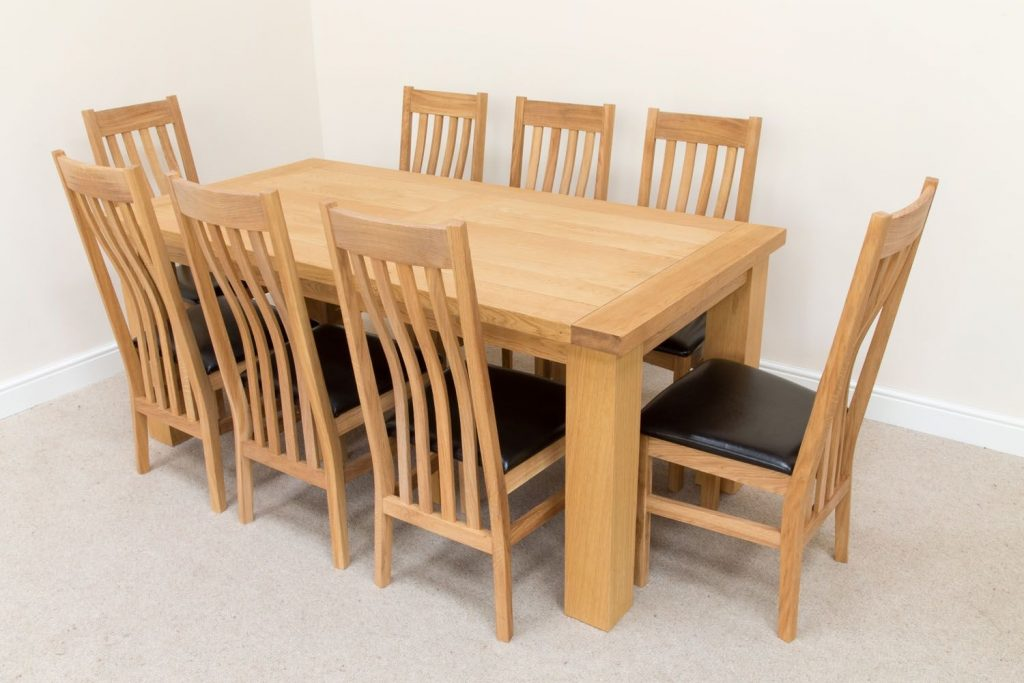 Riga Oak Table 8 Seater Winchester Brown Chair Dining Set
