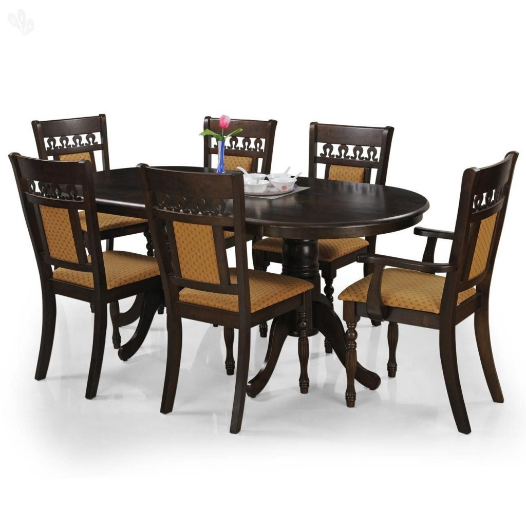 Royal Oak Angel Six Seater Dining Table Set Brown Best Home And