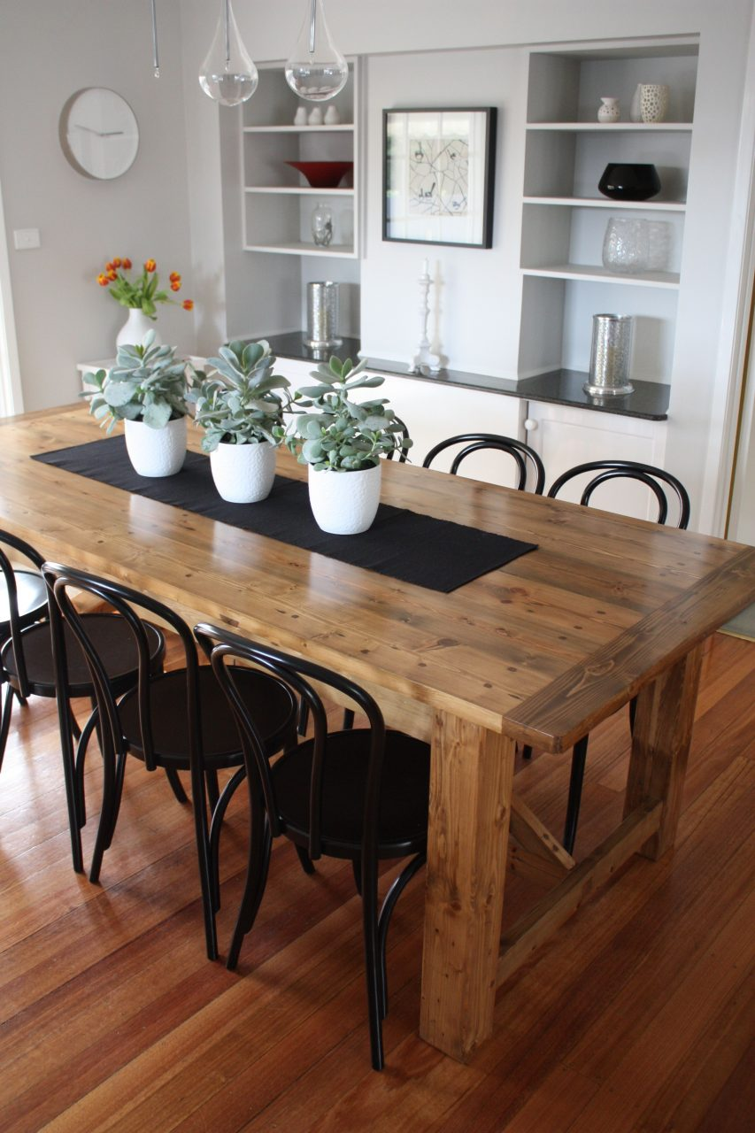 Rustic Dining Table Pairs With Bentwood Chairs House Interior