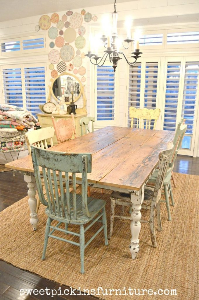 Rustic Farmhouse Dining Table Set Cottage Kitchen Furniture Full