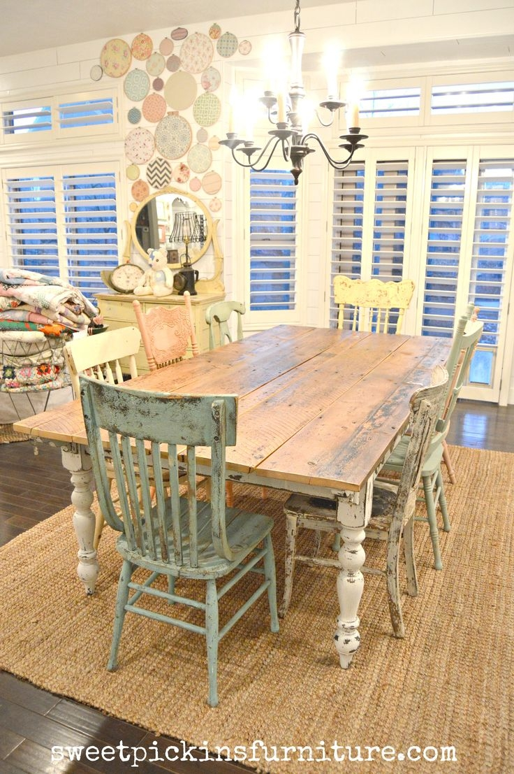 Rustic Farmhouse Dining Table Set Cottage Kitchen Furniture Full ...
