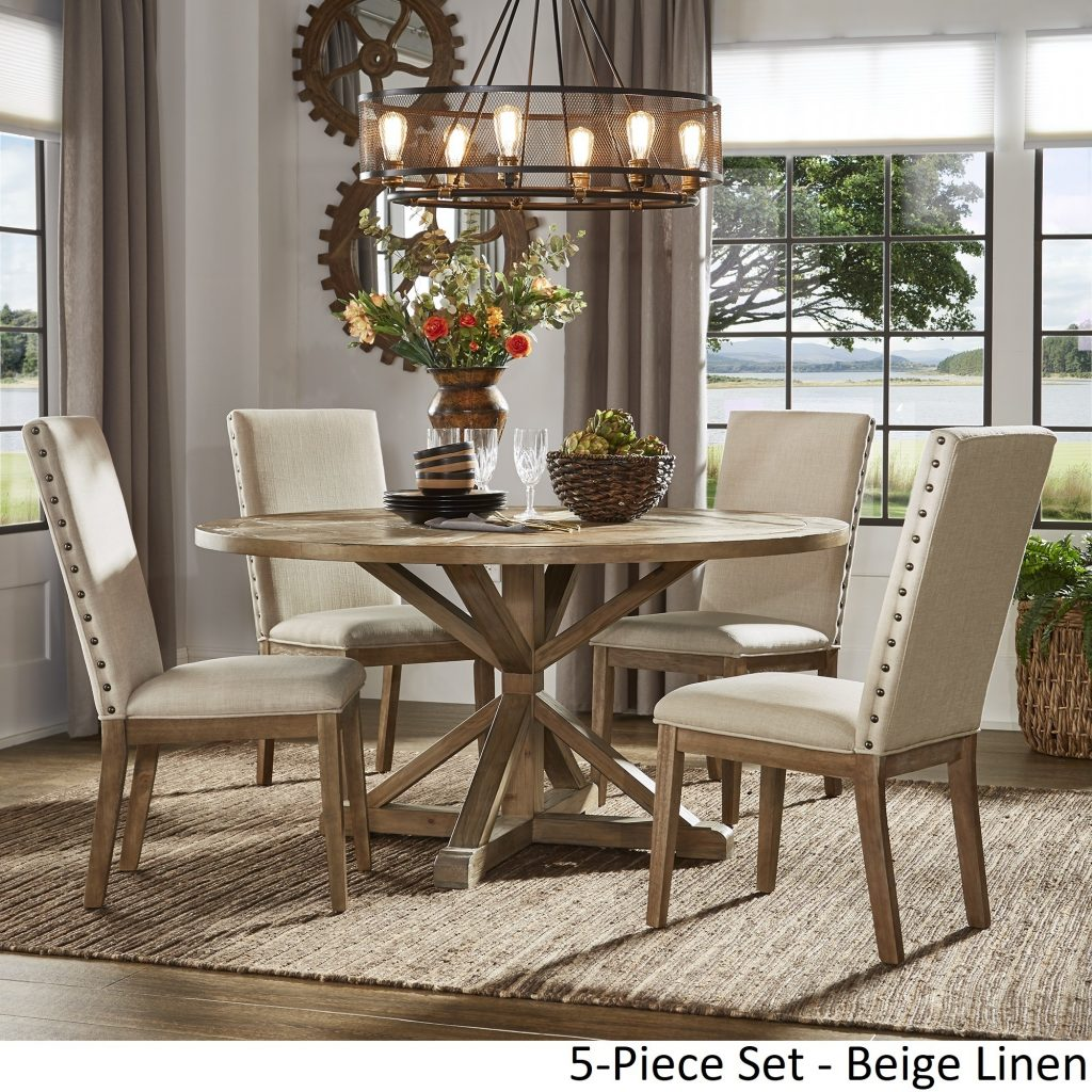 Shop Benchwright Rustic X Base Round Pine Wood Dining Set With Nail