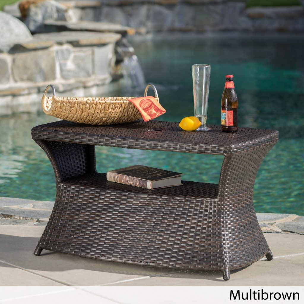 Shop Berkeley Outdoor Wicker Side Table With Umbrella Hole