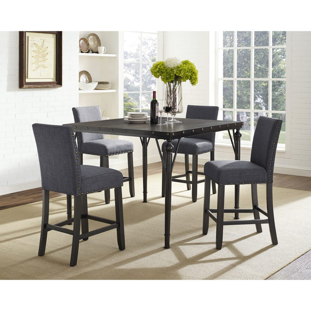 Shop Biony 5 Piece Espresso Wood Counter Height Dining Set With
