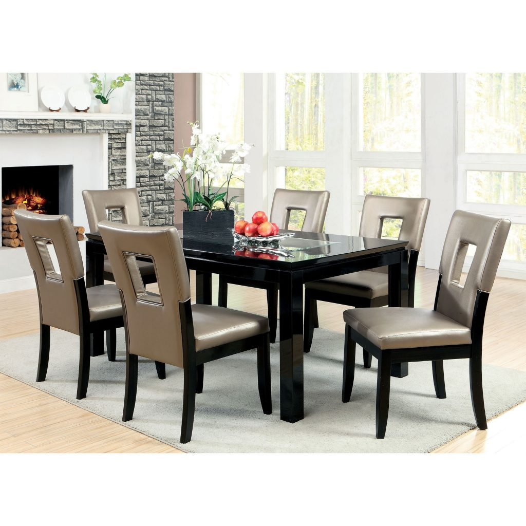 Shop Furniture Of America Evantel 7 Piece Mirror Dining Table Set